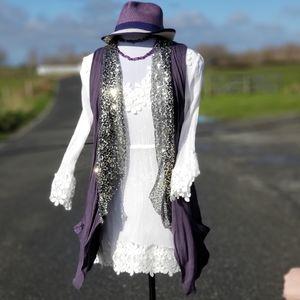 Free people sequin open front vest sz M purple